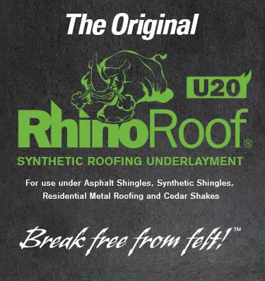 Rhinoroof Synthetic Roofing Underlayment Replaces Felt